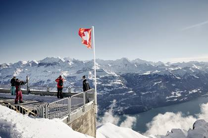 Brienzer Rothorn Aussichtsplattform im Winter