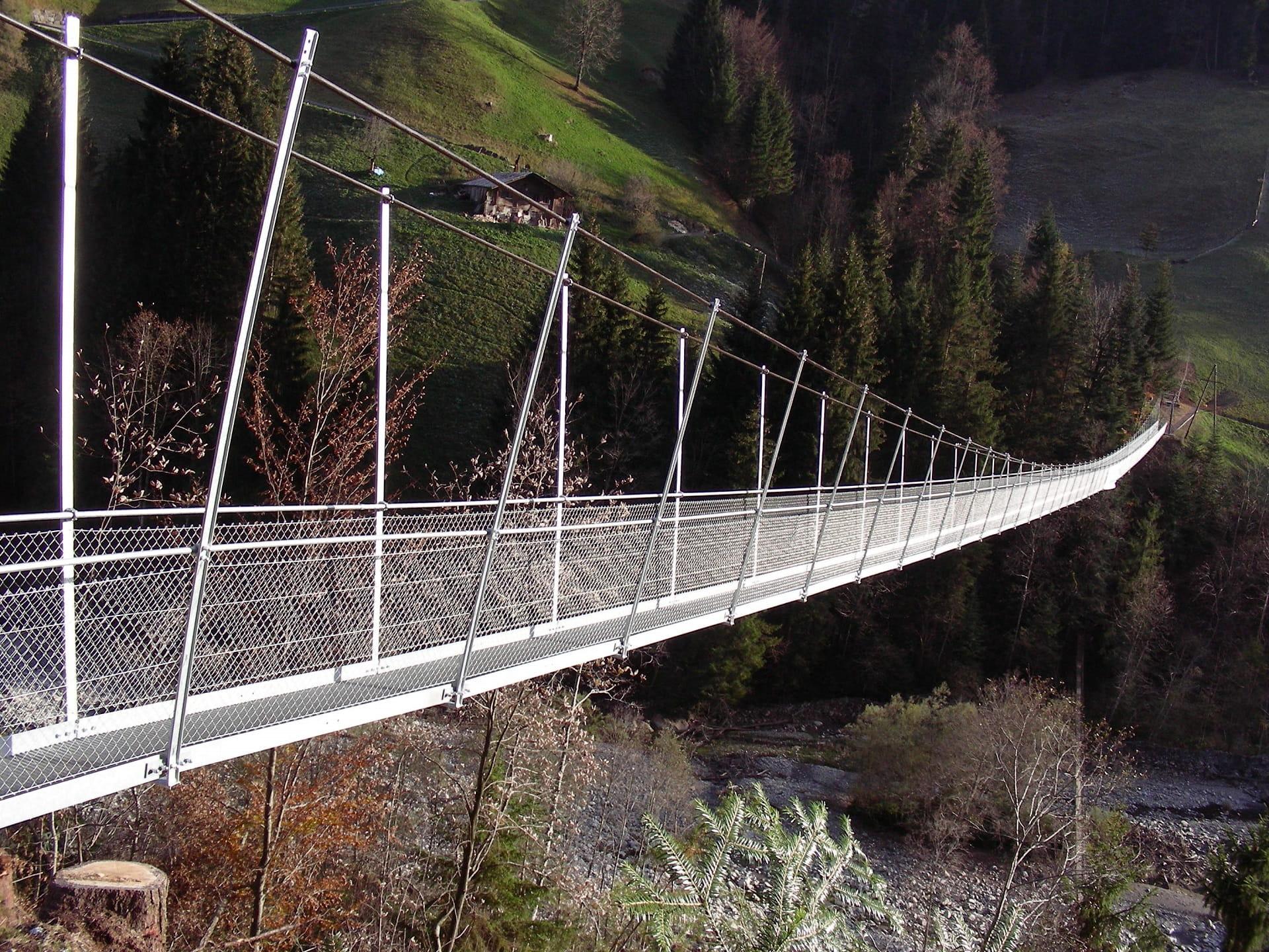 Seitlicher Blick auf die Fussgängerhängebrücke Hostalde