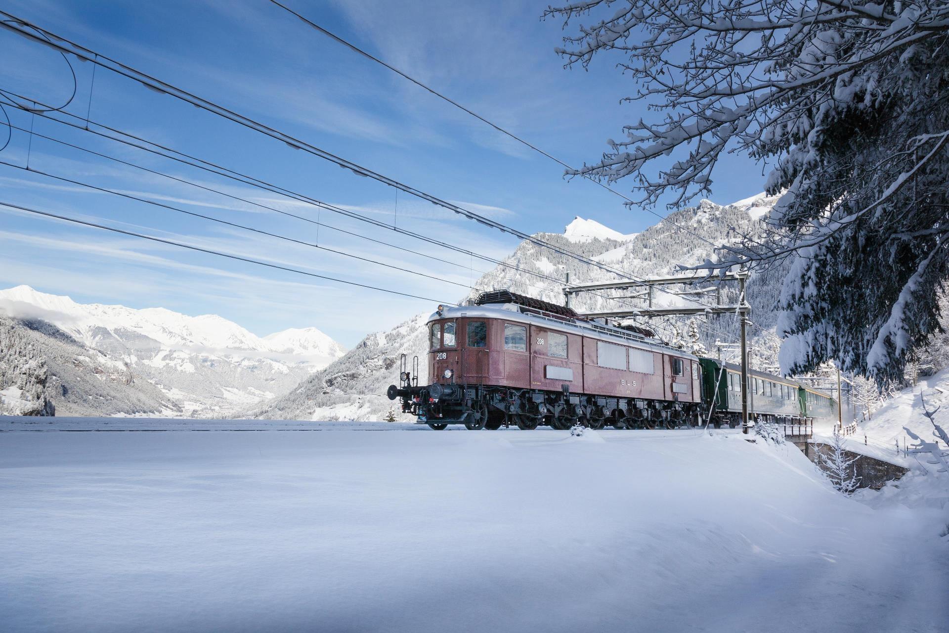 Belle Epoque Extrazug Schneelandschaft