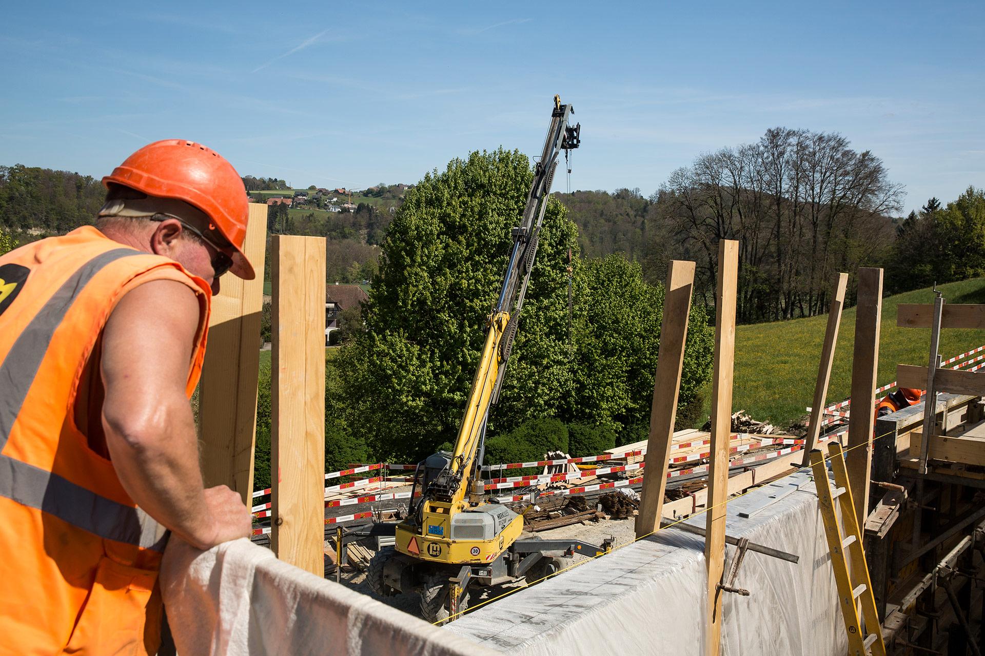 Bauprojekt Guemmenen Arbeiter